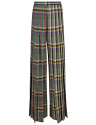 Marco De Vincenzo Multi Check Pleated High Waisted Trousers