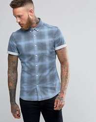 Asos Skinny Denim Shirt With Check In Bleach Wash With Short Sleeves Stone Bleach Wash Blue
