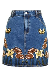 Glamorous Embroidered Denim Skirt By Blue