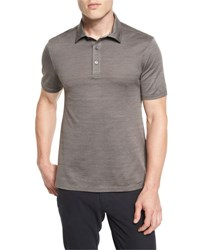 Ermenegildo Zegna Herringbone Polo Shirt Brown