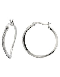 Lord And Taylor Sterling Silver Cubic Zirconia Sculpted Hoop Earrings
