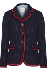 Gucci Velvet Trimmed Polka Dot Cotton And Wool Blend Blazer Navy