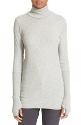 Enza Costa Women's Cotton And Cashmere Turtleneck Light Heather Grey