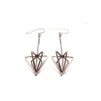 Mikinora Framed Cone Earrings Bronze Nude Neutrals Gold