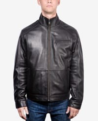 Boston Harbour Men's Leather Stand Collar Jacket Black