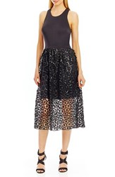Nicole Miller Women's Scuba And Lace Midi Dress