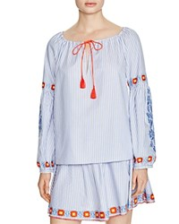 Tory Burch Madison Embroidered Oxford Stripe Peasant Blouse Blue Dusk White
