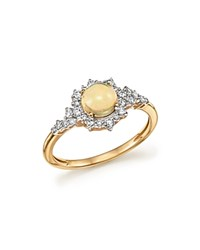 Bloomingdale's Opal And Diamond Halo Ring In 14K Yellow Gold