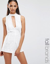 Missguided Tall Lace Neck Detail Playsuit White