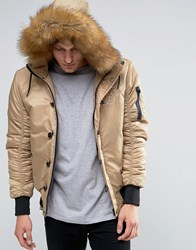 Sik Silk Siksilk Bomber Jacket With Faux Fur Hood Stone
