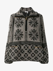 Chloe Wool Cashmere Blend Jacquard Zip Jumper Grey Black Sepia