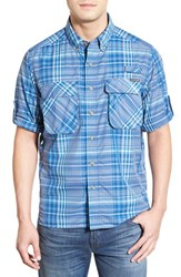 Men's Exofficio 'Outdoor Air Strip' Regular Fit Ventilated Spf Plaid Sport Shirt Prussian