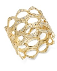 Inc International Concepts Openwork Crystal Accented Wide Bangle Bracelet Only At Macy's Gold