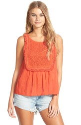 Junior Women's Volcom 'Lost Highway' Crochet Bib Tank Red Bld