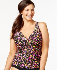Anne Cole Plus Size Floral Twist Tankini Top Women's Swimsuit