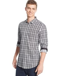Alfani Big And Tall Slim Fit Checked Long Sleeve Shirt Bright White