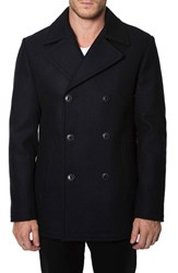 Men's 7 Diamonds 'Seville' Wool Blend Double Breasted Peacoat Black