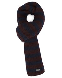 Lacoste Black And Burgundy Sailor Stripe Wool Scarf