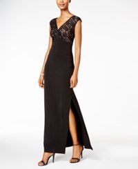 Connected Lace V Neck Gown Black Gold
