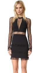 Nicholas Filigree Lace Plunge Mini Dress Black