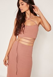 Missguided Petite Exclusive Ribbed Wrap Crop Top Pink Rose