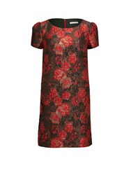 Gina Bacconi Matelasse Metallic Jacquard Dress Red