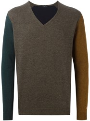 Roberto Collina V Neck Panelled Sweater Brown