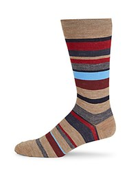 Saks Fifth Avenue Thick Striped Merino Wool Mid Calf Socks Brown
