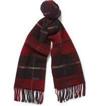 Lanvin Checked Wool Scarf Red