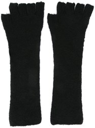 Isabel Benenato Fingerless Gloves Black