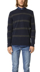Ben Sherman Striped Crew Sweater Blue Black Marl