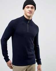 Jack And Jones Jumper With High Neck Zip Opening Navy