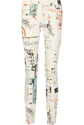 Mm6 Maison Margiela Printed Mid Rise Skinny Jeans White