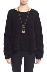 Free People 'Don't Let Me Go' Slouchy Cotton Pullover Sweater Black