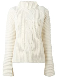 Cedric Charlier Cable Knit Jumper White