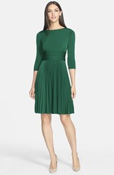 Eliza J Women's Pleated Jersey Fit And Flare Dress Summer Green