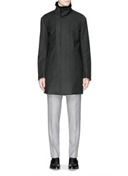 Armani Collezioni Fur Collar Wool Flannel Coat Grey