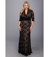 Kiyonna Screen Siren Lace Gown Black And Nude Women's Dress