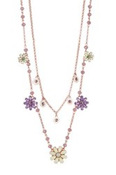 Betsey Johnson Layered Chain Flower Frontal Necklace Purple