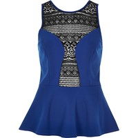 River Island Womens Blue Crochet Panel Peplum Top