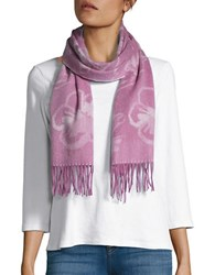 Lord And Taylor Reversible Fringed Floral Cashmere Scarf Berry