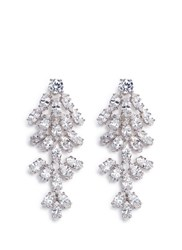 Cz By Kenneth Jay Lane Leaf Cubic Zirconia Clip Earrings Metallic