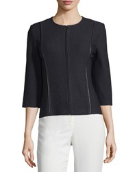St. John Jewel Neck Jacket W Leather Trim Black