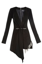 Anthony Vaccarello Suede Dress Black