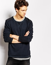 Solid Sweatshirt With Fux Leather Patches Black