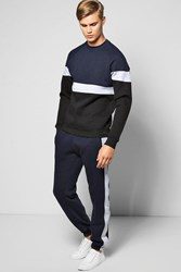 Sweater Panelled Tracksuit Navy