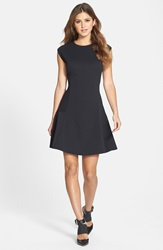 Halogen Ottoman Knit Fit And Flare Dress Regular And Petite Black