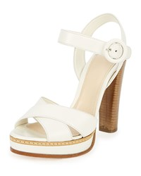 Prada Patent Leather Crisscross Sandal White Bianco