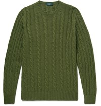 Incotex Cable Knit Virgin Wool Sweater Green