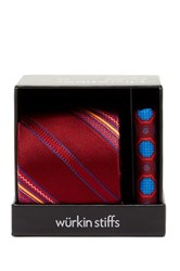 Wurkin Stiffs Stripe Tie And Pocket Square Set Red